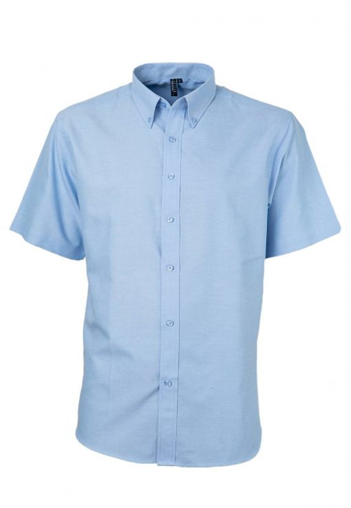 camisa oxford manga corta sin bolsillo celeste