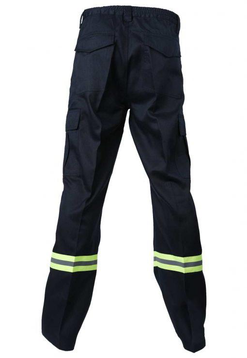 pantalon cargo gabardina con reflectante azul marino