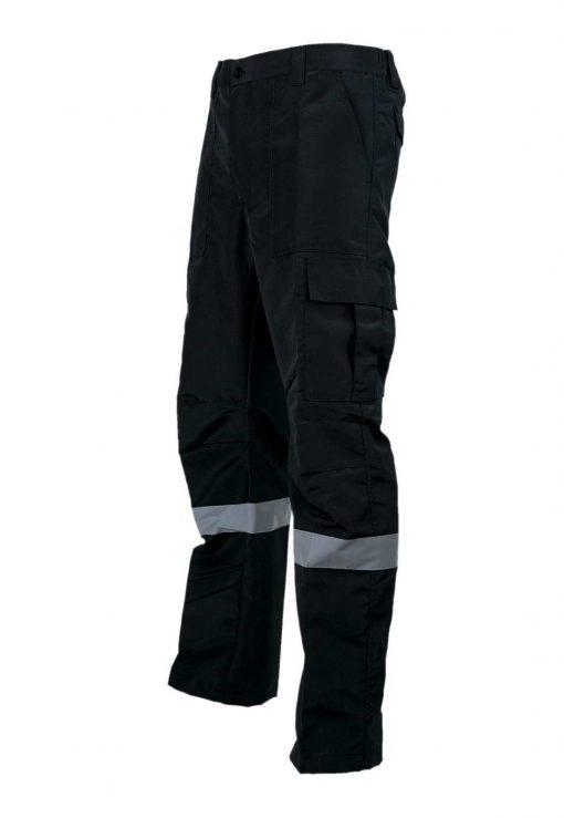 pantalon cargo poplin negro con reflectante